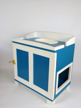 Katzenklo oder Katzenhaus in türkis/weiß