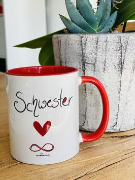 """Wunderschöne Tasse """"SCHWESTERHERZ"""" plus 5 DIN A7 Kärtchen"""
