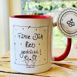 """Wunderschöne Tasse """"Fühle Dich lieb gedrückt!"""""""