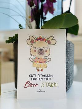 """Wunderschöne Premium-Postkarte """"Gute Gedanken machen mich BÄRENSTARK"""""""