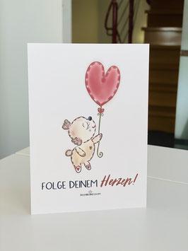 "Wunderschöne Premium Postkarte ""Folge Deinem Herzen!"""