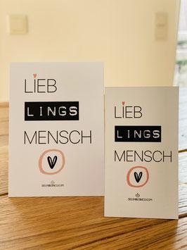 """Feines Magnet """"LIEBLINGSMENSCH!"""" plus DIN A7 Karte"""