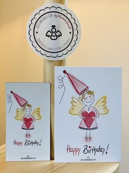 "Feines Magnet ""Happy Birthday-Engel!"" plus DIN A7 Karte"