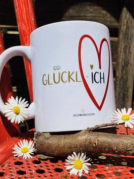 """Wunderschönes Tassen- und Postkartenset """"Glückl-Iich"""""""
