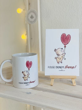 """Wunderschönes und bezauberndes Tassen- und Kartenset. """"Folge Deinem Herzen!"""""""