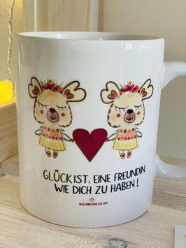 Wunderschönes Set Tasse und Postkarte Glück ist, eine Freundin wie Dich zu haben.