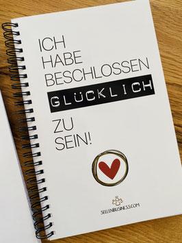 """Wunderschönes Notizbuch/Tagebuch mit Kalenderfunktion für 2021   """"ICH HABE BESCHLOSSEN GLÜCKLICH ZU SEIN!"""" B/W"""