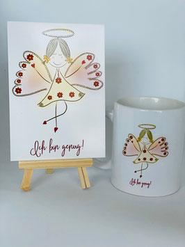 """Wunderschönes Tassen und Postkartenset """"Ich bin ging!"""""""