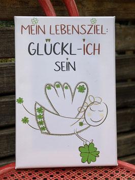 """Wunderschöne Fotoleinwand mit Glücksengel Fridolin """"Mein Lebensziel GLÜCKL-ICH sein!"""""""