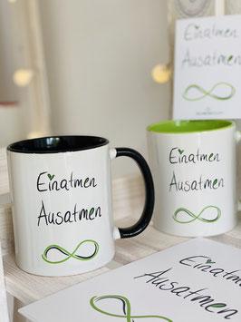 """Wunderschönes Tassen- und Postkartenset """"Einatmen Ausatmen"""""""