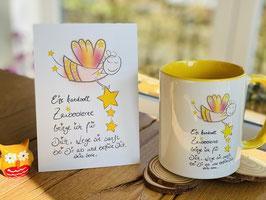 """Wunderschönes Tassen und Postkartenset """"Zaubersterne"""""""