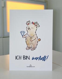 """Wunderschöne Premium Postkarte """"Ich bin wertvoll!"""""""