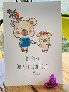 """Wunderschöne Premium-Postkarte """"Du Papa, Du bist mein Held!"""""""