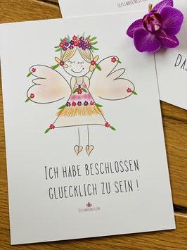 """Postkarte """"Ich habe beschlossen glücklich zu sein!"""""""