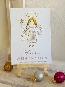 Frohe Weihnachten!  Wunderschöne Premium-Postkarte Sternenengel