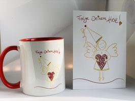 Tasse und Postkarte Folge Deinem Herz