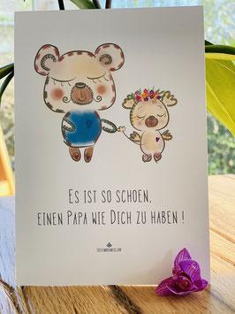 """Postkarte """"Es ist so schön, einen Papa wie Dich zu haben!"""""""