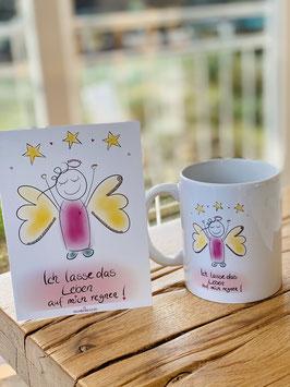 Wunderschöne Tasse und Premium-Postkarte mit zuckersüßem Engel.