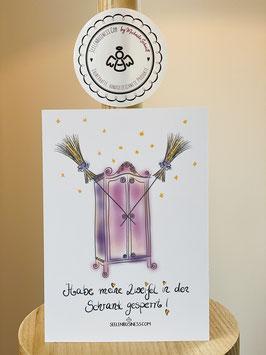 """Wunderschöne Postkarte mit dem MAGIC-SCHRANK.   """"Habe meine Zweifel in den Schrank gesperrt!"""""""