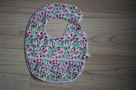 Bavoir coton enduit  printemps rose avec récupérateur,  garanti SANS PHTALATES (obligatoire chez enfant -36 mois)