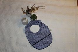 Bavoir coton enduit feuillages avec récupérateur,  garanti SANS PHTALATES (obligatoire chez enfant - 36 mois)