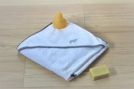 Sortie de bain bébé 85x85 Oeko-Tex blanche et biais gris