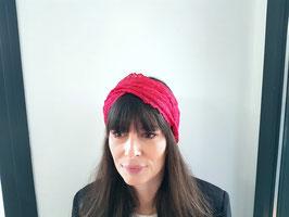 Headband dentelle rouge clair