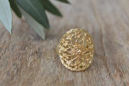 vergoldeter Fingerring Mandala Blumen offen Art nr. FR25