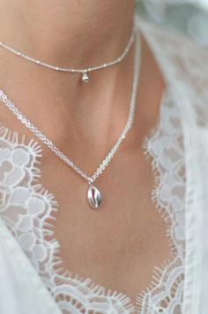 Silber Halskette doppelt mit Kauri Muschel Pink sand art nr. Ha 212