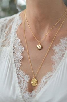 gold Halskette mit doppel Plaquetten in zwei grössen Pink sand art nr. Gh 22
