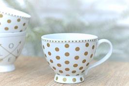 Tasse gross Happy chic cup Gold dots Art.nr. K 31
