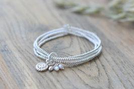 Silberarmband vierfach schnecke mit kleinen Perlen Art nr. A 374