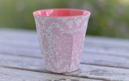 Rice Becher mittel rosa weis Muster Art. Nr. Ri 3
