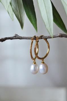 Gold Ohrnecreolen gepunktet mit Perle Art. Nr. GO 80