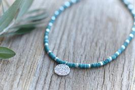 Halskette silber surri blau türkis Pink Sand HA 525