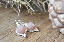 Ohrenhänger rund  einfach mit Edelstein  silber  PinkSand  Art Nr OS 115