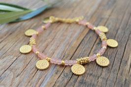 SALE gold Edelsteinarmkettchen mit feinen Muscheln PINK SAND art nr. Ga 15