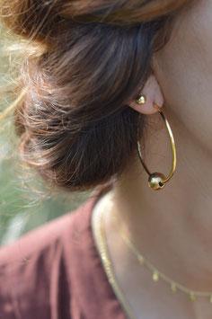 Gold Ohrencreolen mit Kugel gehàmmert art nr. GO 55