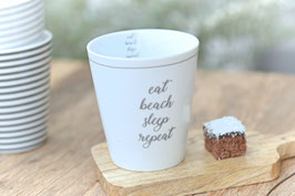 "Krasilnikoff Tasse mug "" eat,beach,sleep,repeat"" art nr. K 27"