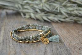 Dreifach Armband gold mit Quaste und Amulettli Art. Nr. A 366