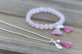 Kinderset Halskette mit federli & Quaste Rosenquarzarmband mit zwei Quasten Art. nr. KS 16
