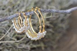 Ohrencreolen Pinksand hampton  gold mit Perlen Art nr. Os 160