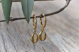 Gold Ohrencreolen klein mit Kauri fein art nr. Go 103