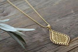 Gold Halskette 2,2 mm 80 cm mit Anhänger Lebensblume Tropfen  Art. Nr. HA148