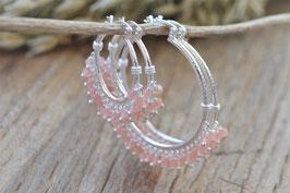 Ohrencreolen  silber hampton mit Edelsteinen Pink sand art nr. Os 189
