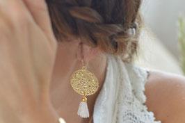 Ohrenhänger Blumenmandala vergoldet mit Quaste Art nr. Os 145