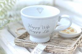 Tasse gross Happy chic cup Happy wife , Happy Life Art. nr. K33