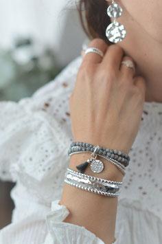 Armband vierfach  mit Edelsteinen matt  Quaste und Plättli art nr. A 235