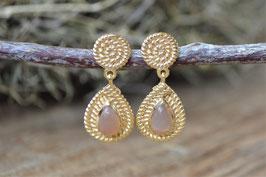 SALe Gold Ohrenstecker Stone Agate  Pink Sand Art. nr. Go 10