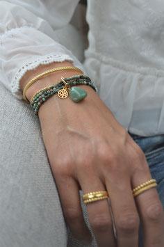 SALE gold Armband vierfach Afrikanischer türkis  Baumanhänger und Aventurinstein  art nr Ga 27
